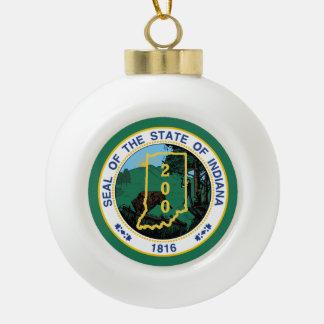 Indiana Bicentennial Ceramic Ball Christmas Ornament