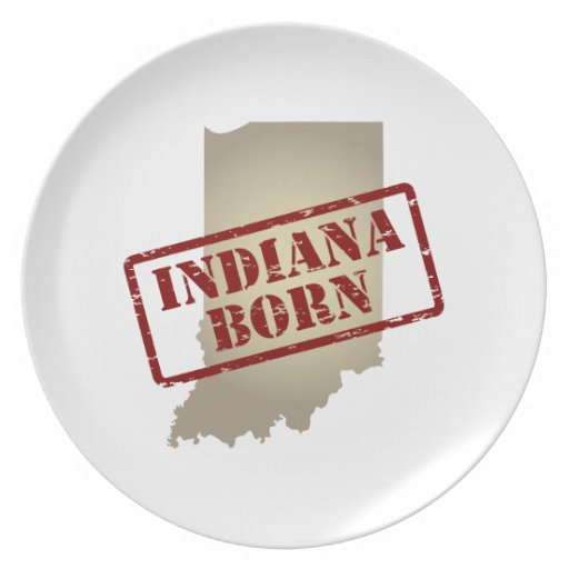 Indiana Born - Stamp on Map Dinner Plate
