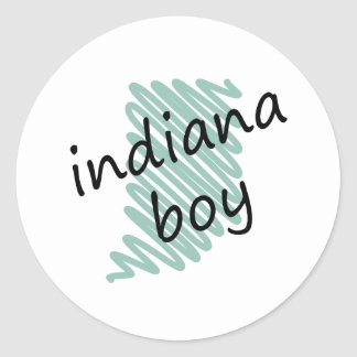 Indiana Boy on Child's Indiana Map Drawing Classic Round Sticker