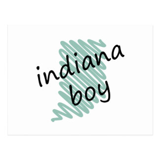 Indiana Boy on Child's Indiana Map Drawing Postcard