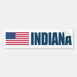 Indiana con la bandera de los E.E.U.U. Pegatina De Parachoque