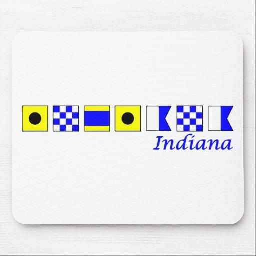 Indiana deletreó en alfabeto náutico de la bandera tapete de ratón