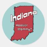 Indiana EN mamá del Hoosier del ~ del lema de los Pegatina Redonda