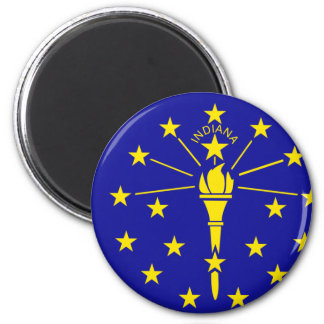 Indiana Flag 2 Inch Round Magnet