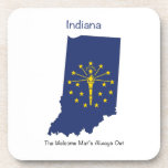 Indiana Flag and Map Beverage Coaster