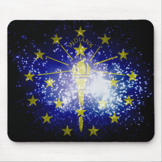 Indiana flag fireworks mouse pad