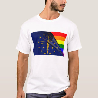Indiana Flag Gay Pride Rainbow T-Shirt