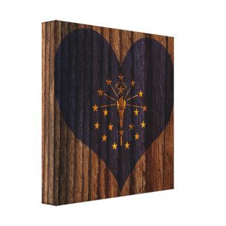 Indiana Flag Heart on Wood theme Canvas Print