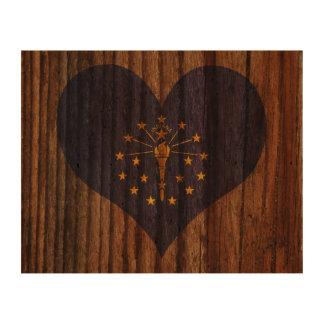 Indiana Flag Heart on Wood theme Queork Photo Prints