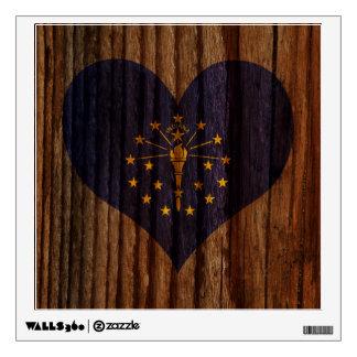 Indiana Flag Heart on Wood theme Wall Sticker