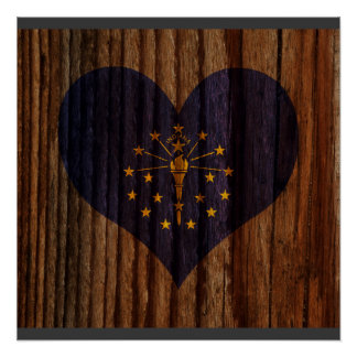 Indiana Flag Heart on Wood theme Perfect Poster