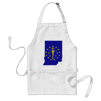 Indiana Flag Map Adult Apron