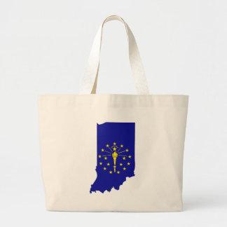 Indiana Flag Map Large Tote Bag