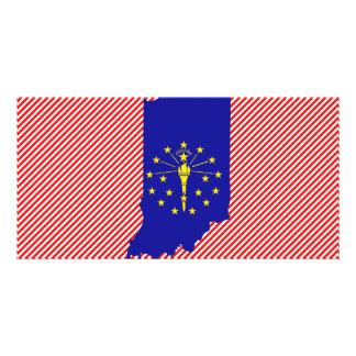 Indiana Flag Map Photo Greeting Card