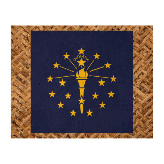 Indiana Flag on Textile themed Photo Cork Paper