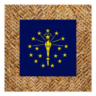 Indiana Flag on Textile themed Perfect Poster
