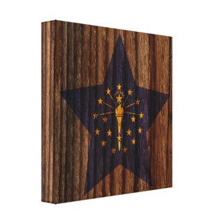 Indiana Flag Star on Wood theme Canvas Print