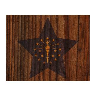 Indiana Flag Star on Wood theme Photo Cork Paper