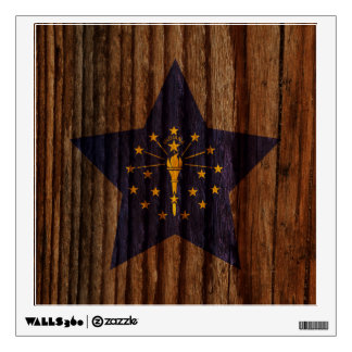 Indiana Flag Star on Wood theme Wall Skins