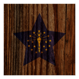 Indiana Flag Star on Wood theme Perfect Poster