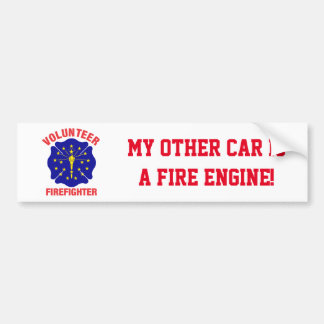 Indiana Flag Volunteer Firefighter Cross Bumper Sticker