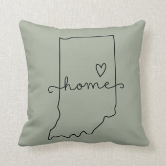 Indiana Home State Love, Movable Location Heart Throw Pillow