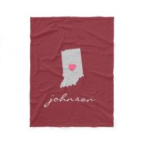 Indiana Home State Love with Custom Heart Fleece Blanket