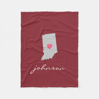 Indiana Home State Love with Custom Heart Fleece Blanket