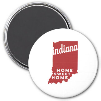 indiana | home sweet home | crimson 3 inch round magnet
