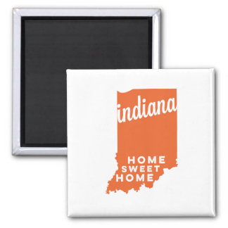 indiana | home sweet home | orange 2 inch square magnet