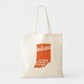 indiana   home sweet home   orange tote bag