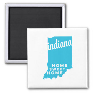indiana | home sweet home | sky blue 2 inch square magnet