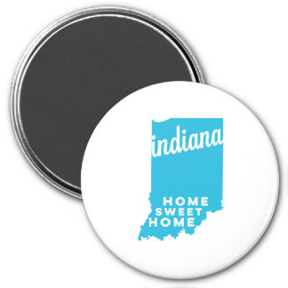indiana | home sweet home | sky blue 3 inch round magnet