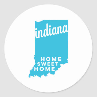 indiana   home sweet home   sky blue classic round sticker