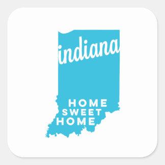 indiana | home sweet home | sky blue square sticker