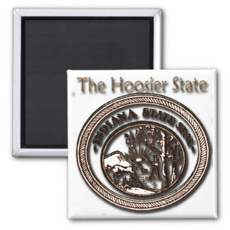Indiana Hoosier State Seal 2 Inch Square Magnet