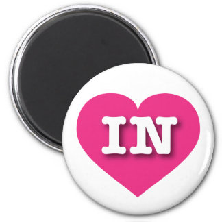 Indiana Hot Pink Heart - Big Love 2 Inch Round Magnet