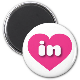 indiana hot pink heart - mini love 2 inch round magnet