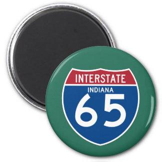 Indiana IN I-65 Interstate Highway Shield - 2 Inch Round Magnet