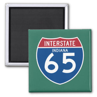 Indiana IN I-65 Interstate Highway Shield - 2 Inch Square Magnet