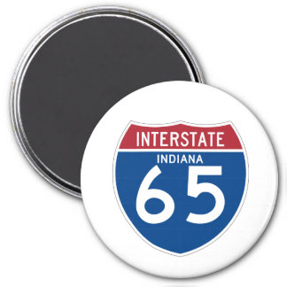 Indiana IN I-65 Interstate Highway Shield - 3 Inch Round Magnet