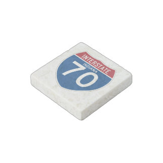 Indiana IN I-70 Interstate Highway Shield - Stone Magnet