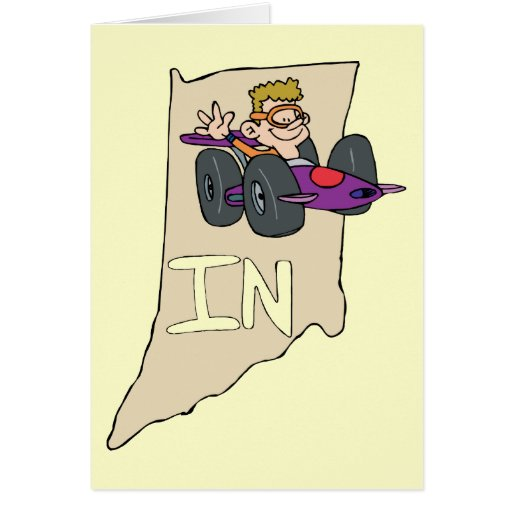 Indiana IN Map with funny Indy Race Car Cartoon Greeting Card