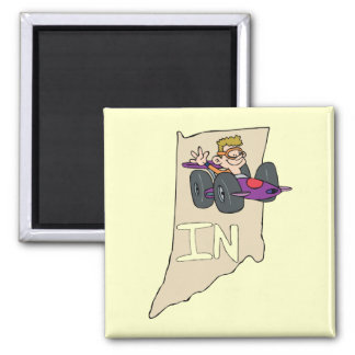 Indiana IN Map with funny Indy Race Car Cartoon Magnet