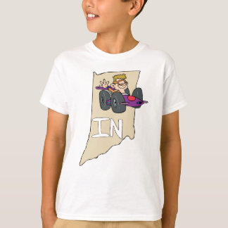 Indiana IN Map with funny Indy Race Car Cartoon T-Shirt