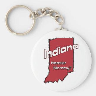 Indiana IN US Motto ~ Hoosier Mommy Basic Round Button Keychain