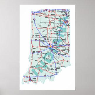 Indiana Interstate Map Print