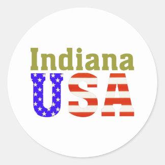 ¡Indiana los E.E.U.U.! Pegatina Redonda