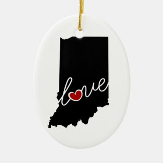 Indiana Love!  Gifts for IN Lovers Ceramic Ornament