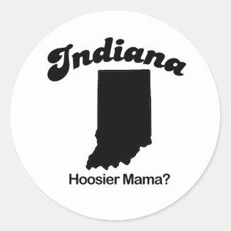 Indiana - mamá del Hoosier Pegatina Redonda